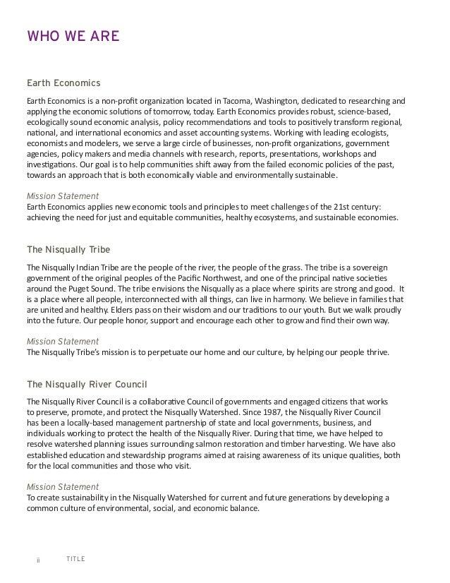TITLEii WHO WE ARE Earth Economics Earth Economics is a non-profit organization located in Tacoma, Washington, dedicated t...
