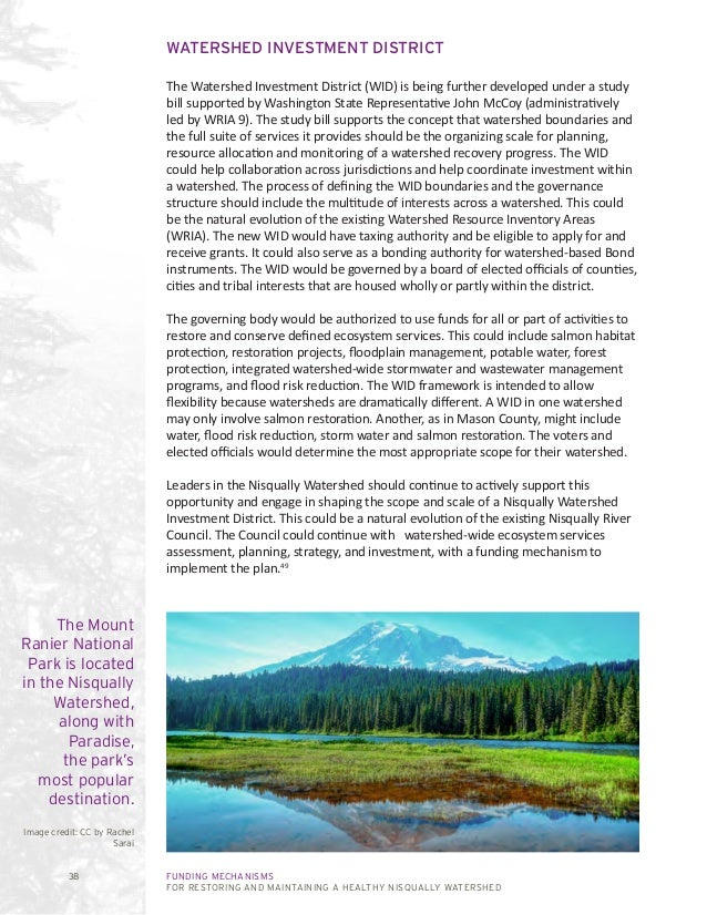 FUNDING MECHANISMS FOR RESTORING AND MAINTAINING A HEALTHY NISQUALLY WATERSHED 38 WATERSHED INVESTMENT DISTRICT The Waters...