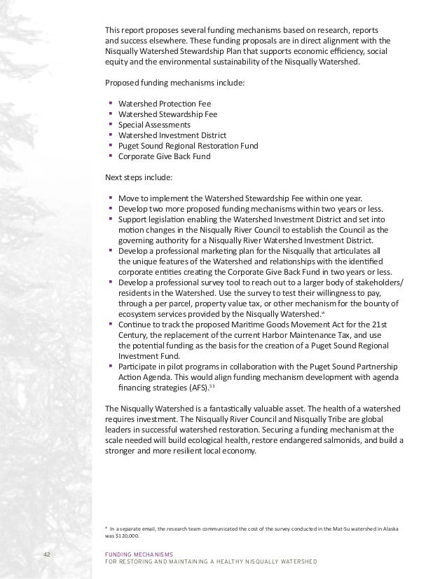 Funding Mechanisms for Restoring and Maintaining a Healthy Nisqually Watershed