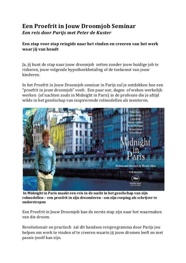 Een Proefrit in Jouw Droomjob Seminar Een reis door Parijs met Peter de Kuster  Een stap ...