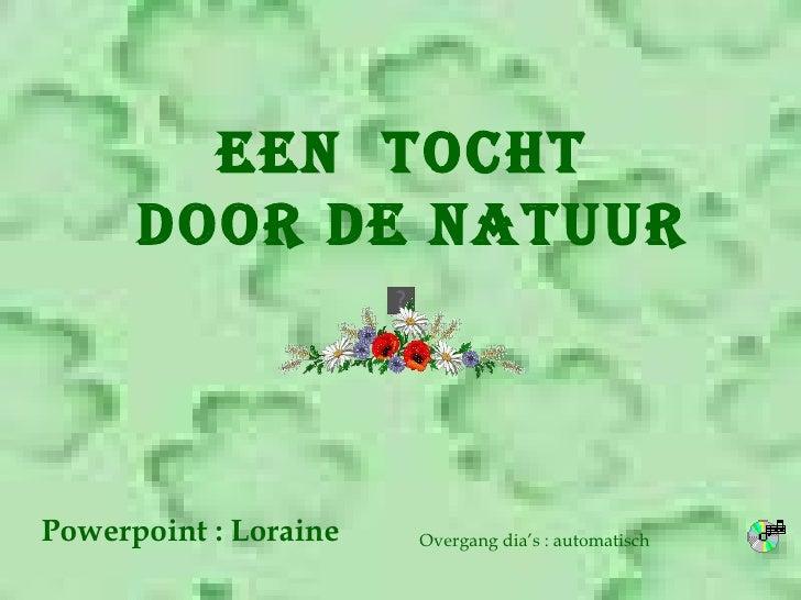 EEN  TOCHT DOOR DE NATUUR Powerpoint : Loraine Overgang dia's : automatisch