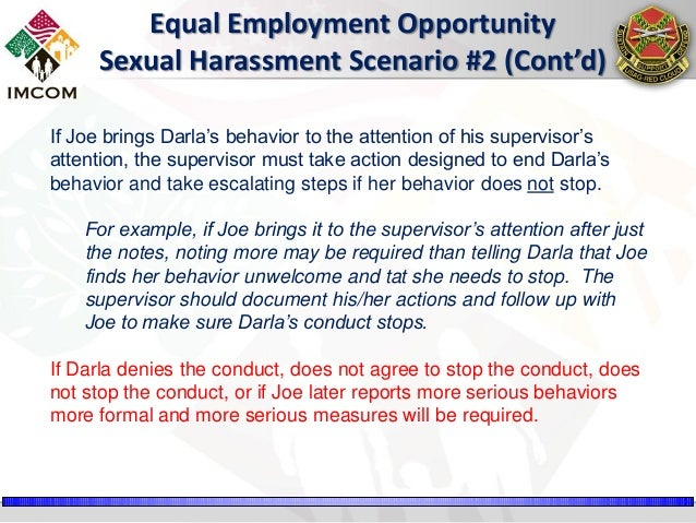 Sexual harassment training scenarios examples