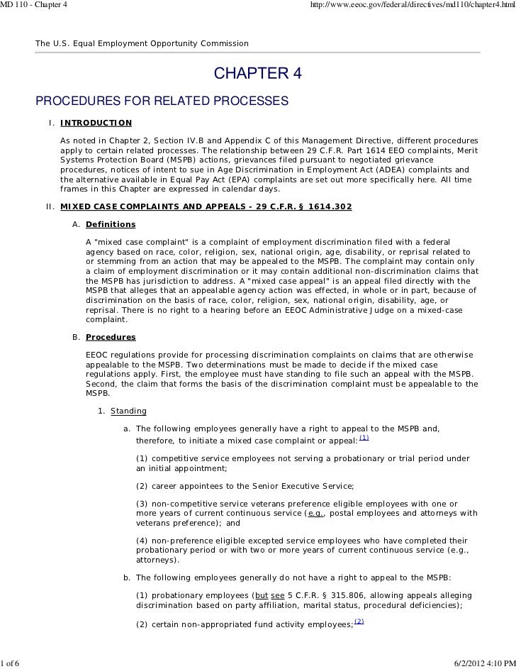 MD 110 - Chapter 4                                                               http://www.eeoc.gov/federal/directives/md...