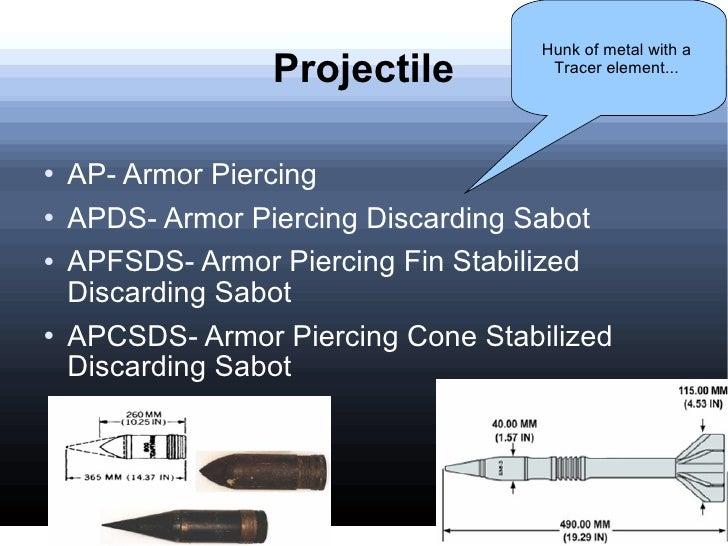 Projectile <ul><li>AP- Armor Piercing </li></ul><ul><li>APDS- Armor Piercing Discarding Sabot </li></ul><ul><li>APFSDS- Ar...