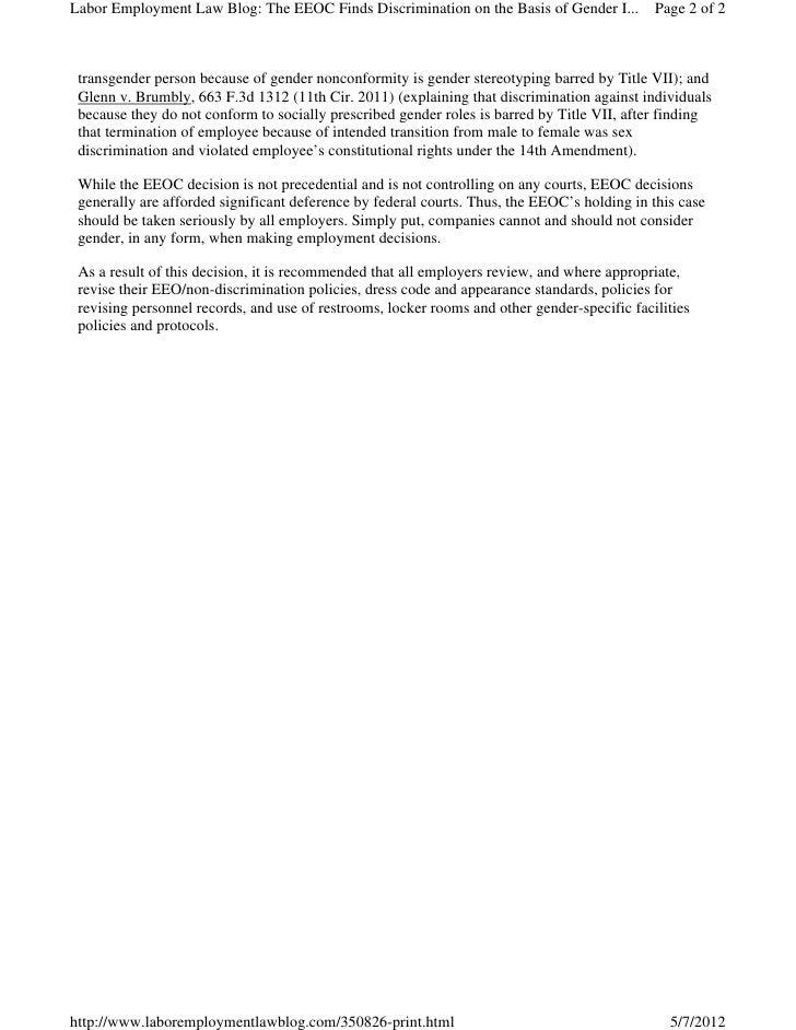 Sex discrimination under title vii 5