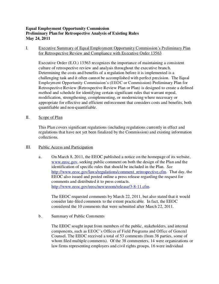 Equal Employment Opportunity CommissionPreliminary Plan for Retrospective Analysis of Existing RulesMay 24, 2011I.     Exe...