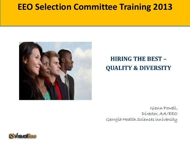 EEO Selection Committee Training 2013