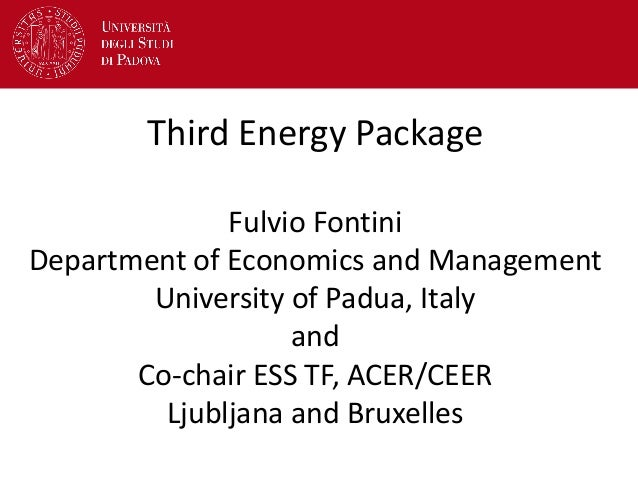 Third Energy Package Fulvio Fontini Department of Economics and Management University of Padua, Italy and Co-chair ESS TF,...