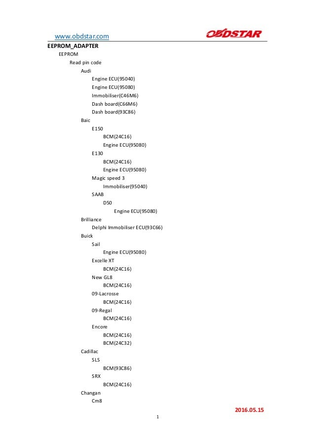 OBDSTAR X300 PRO3 Eeprom Support List