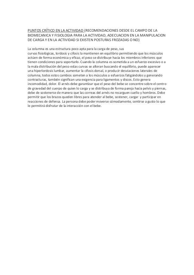 PUNTOS CRÍTICO EN LA ACTIVIDAD (RECOMENDACIONES DESDE EL CAMPO DE LA BIOMECANICA Y FISIOLOGIA PARA LA ACTIVIDAD, ADECUACIO...