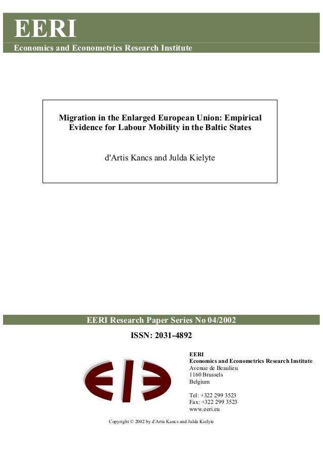 EERI Economics and Econometrics Research Institute EERI Research Paper Series No 04/2002 ISSN: 2031-4892 Copyright © 2002 ...