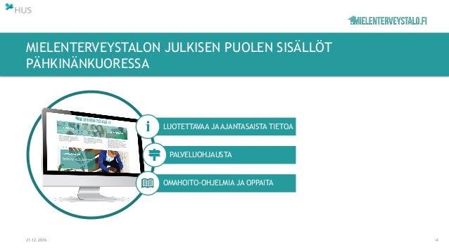 MIELENTERVEYSTALON JULKISEN PUOLEN SISÄLLÖT PÄHKINÄNKUORESSA 21.12.2016 4 LUOTETTAVAA JA AJANTASAISTA TIETOA PALVELUOHJAUS...
