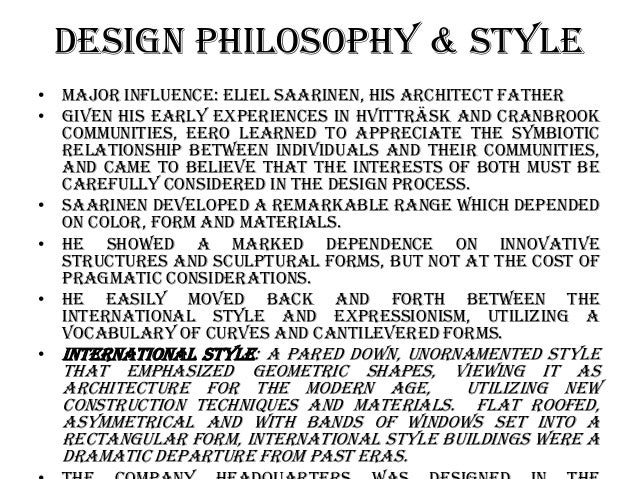 Architecture Design Philosophy eero saarinen