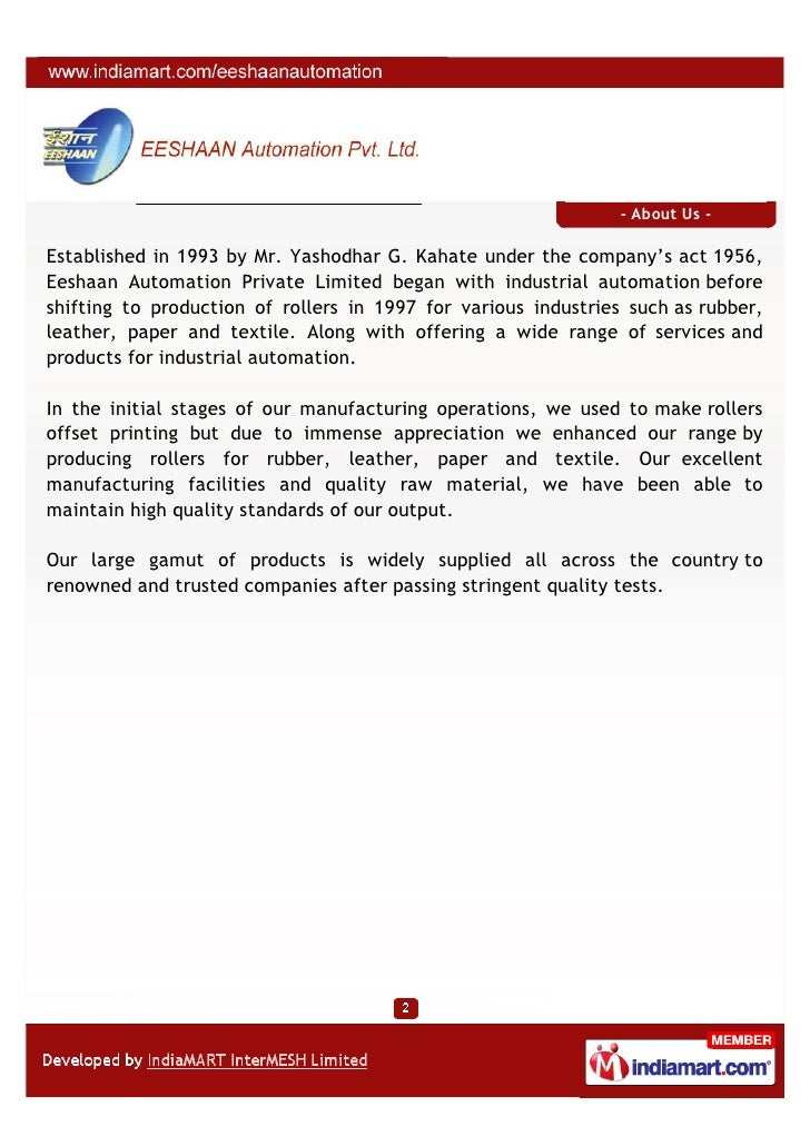 - About Us -Established in 1993 by Mr. Yashodhar G. Kahate under the company's act 1956,Eeshaan Automation Private Limited...