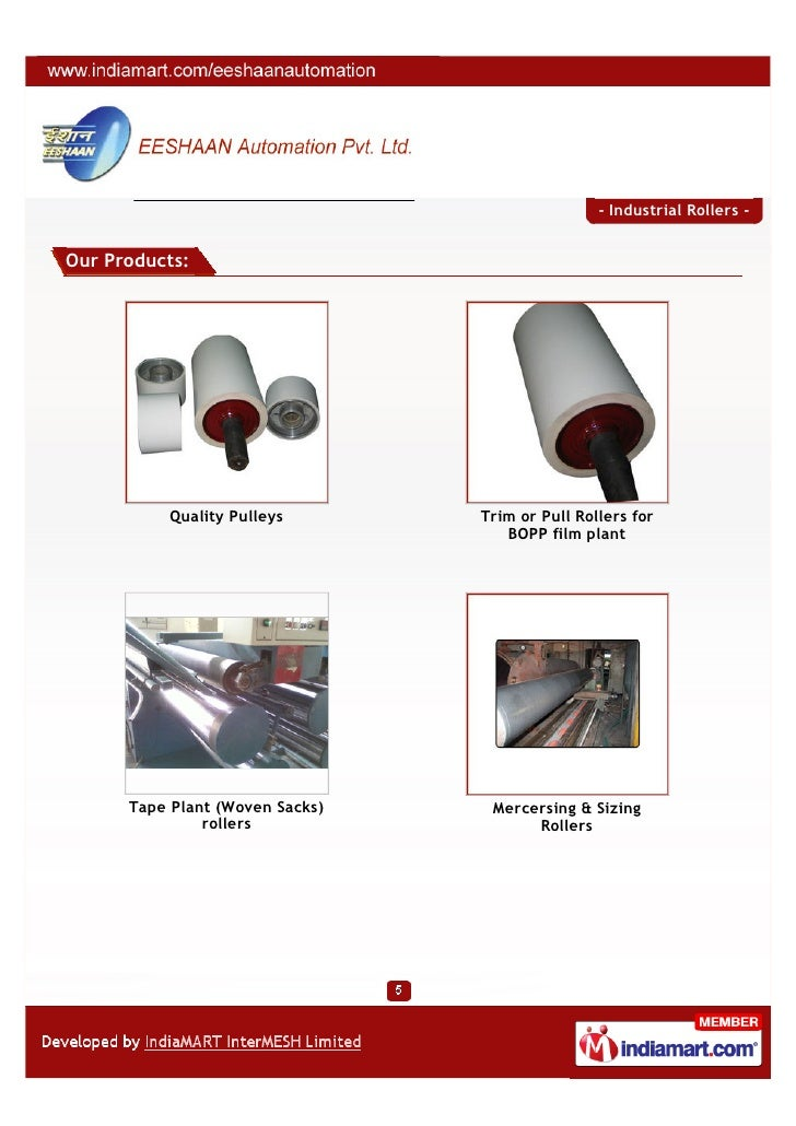 - Industrial Rollers -Our Products:           Quality Pulleys       Trim or Pull Rollers for                              ...