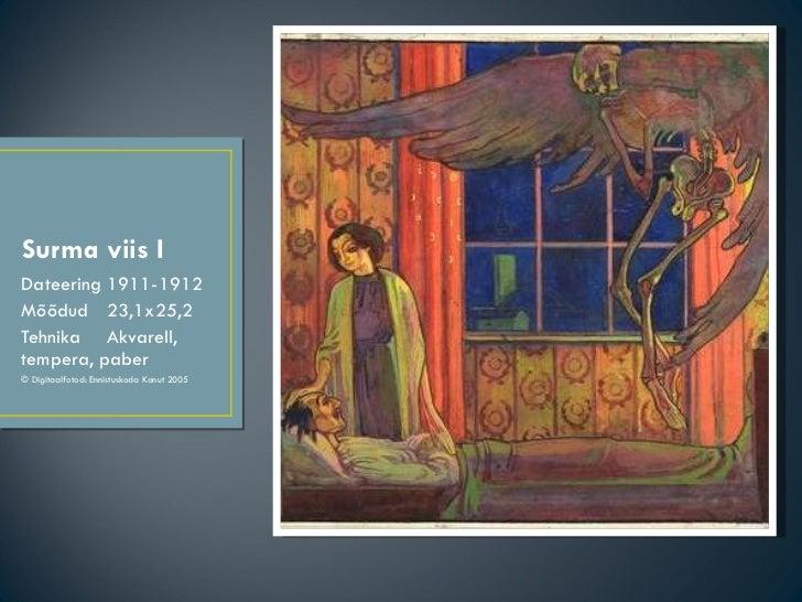 Surma viis I <ul><li>Dateering  1911-1912 </li></ul><ul><li>Mõõdud  23,1x25,2 </li></ul><ul><li>Tehnika  Akvarell, tempera...