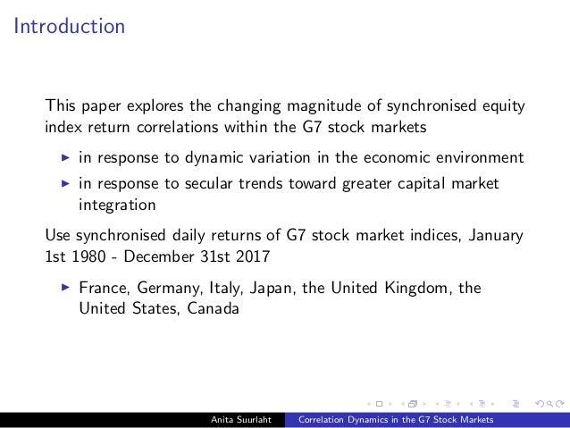 Anita Suurlaht (UCD School of Business). Correlation Dynamics in the G7 Stock Markets Slide 2