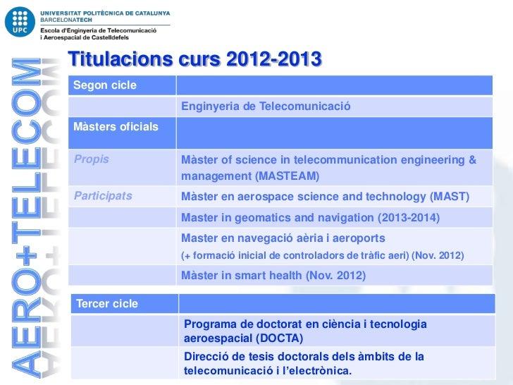 Titulacions curs 2012-2013Segon cicle                   Enginyeria de TelecomunicacióMàsters oficialsPropis             Mà...