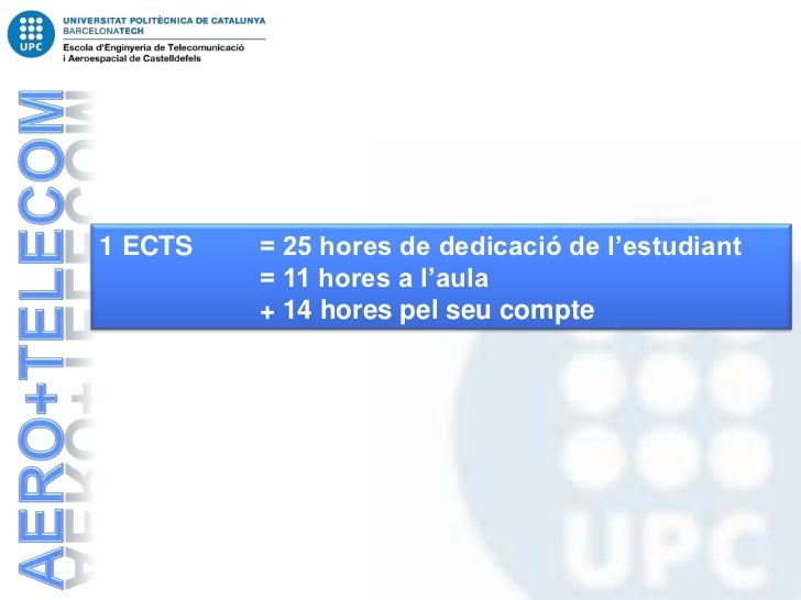 1 ECTS   = 25 hores de dedicació de l'estudiant         = 11 hores a l'aula         + 14 hores pel seu compte
