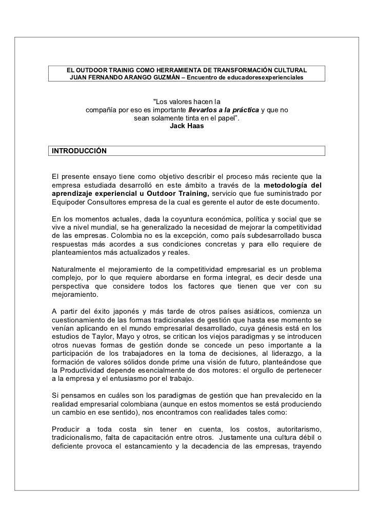 EL OUTDOOR TRAINIG COMO HERRAMIENTA DE TRANSFORMACIÓN CULTURAL     JUAN FERNANDO ARANGO GUZMÁN – Encuentro de educadoresex...