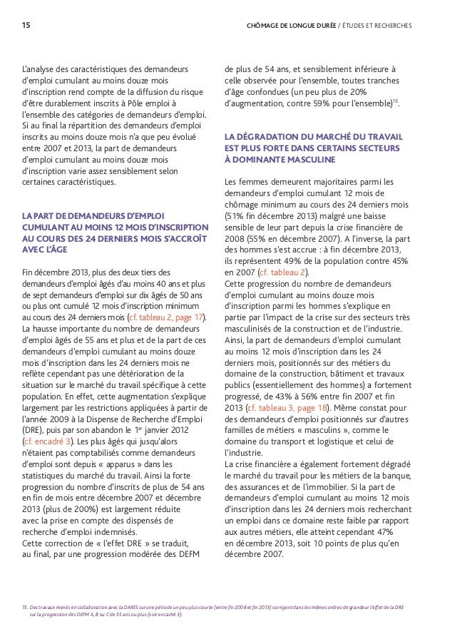 17 CHÔMAGE DE LONGUE DURÉE / ÉTUDES ET RECHERCHES 18. Les principales caractéristiques sociodémographiques des DEFM et de...
