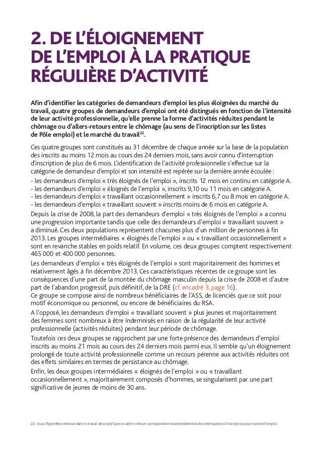 25 DE L'ELOIGNEMENT DE L'EMPLOI DURABLE A LA PRATIQUE REGULIERE D'ACTIVITE / ÉTUDES ET RECHERCHES TABLEAU 5 ÉVOLUTION DE ...