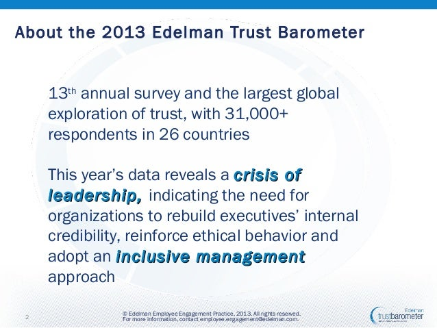 Employee Engagement Insights from the 2013 Edelman Trust Barometer Slide 2