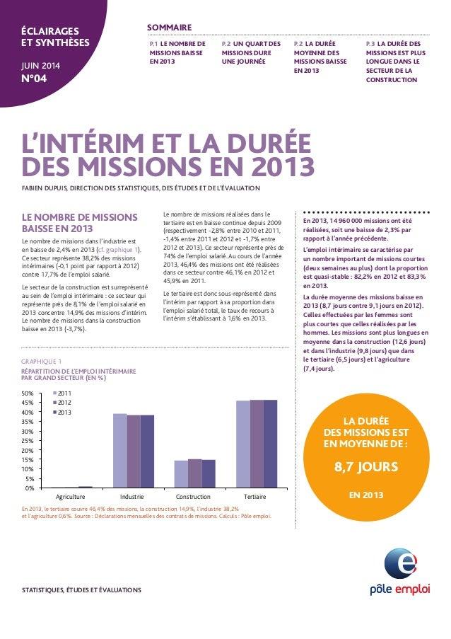 P.1 LE NOMBRE DE  MISSIONS BAISSE  EN 2013  P.2 UN QUART DES  MISSIONS DURE  UNE JOURNÉE  P.2 LA DURÉE  MOYENNE DES  MISSI...