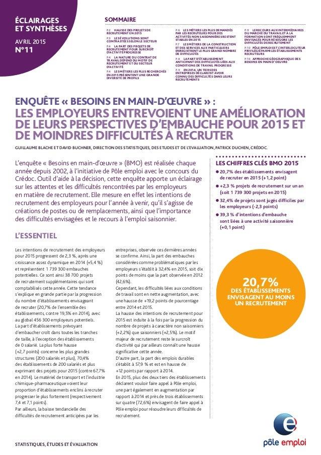 ENQUÊTE « BESOINS EN MAIN-D'ŒUVRE » : LES EMPLOYEURS ENTREVOIENT UNEAMÉLIORATION DE LEURS PERSPECTIVES D'EMBAUCHE POUR 201...