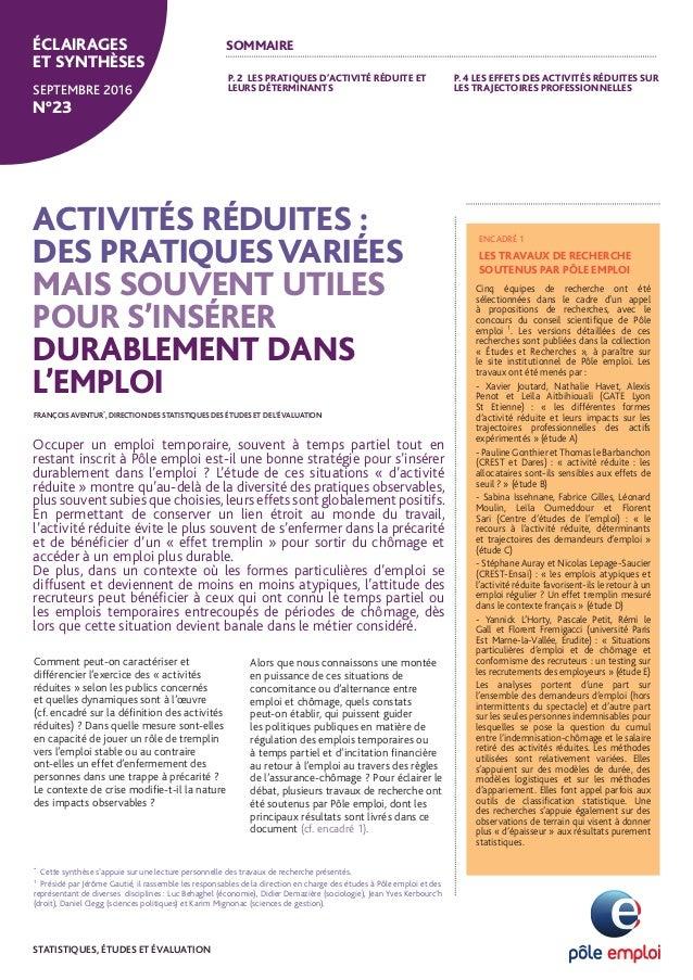 Comment peut-on caractériser et différencier l'exercice des « activités réduites » selon les publics concernés et quelles ...
