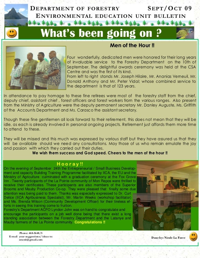 DEPARTMENT OF FORESTRY SEPT/OCT 09 ENVIRONMENTAL EDUCATION UNIT BULLETIN What's been going on ? Phone: 468-5648/5 E-mail y...
