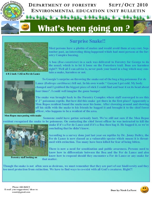 DEPARTMENT OF FORESTRY SEPT/OCT 2010 ENVIRONMENTAL EDUCATION UNIT BULLETIN What's been going on ? Phone: 468-5648/5 E-mail...