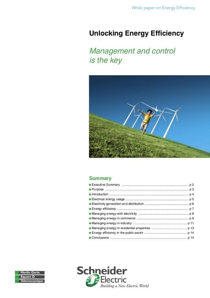 White paper on Energy EfficiencyUnlocking Energy EfficiencyManagement and controlis the keySummaryb Executive Summary .........