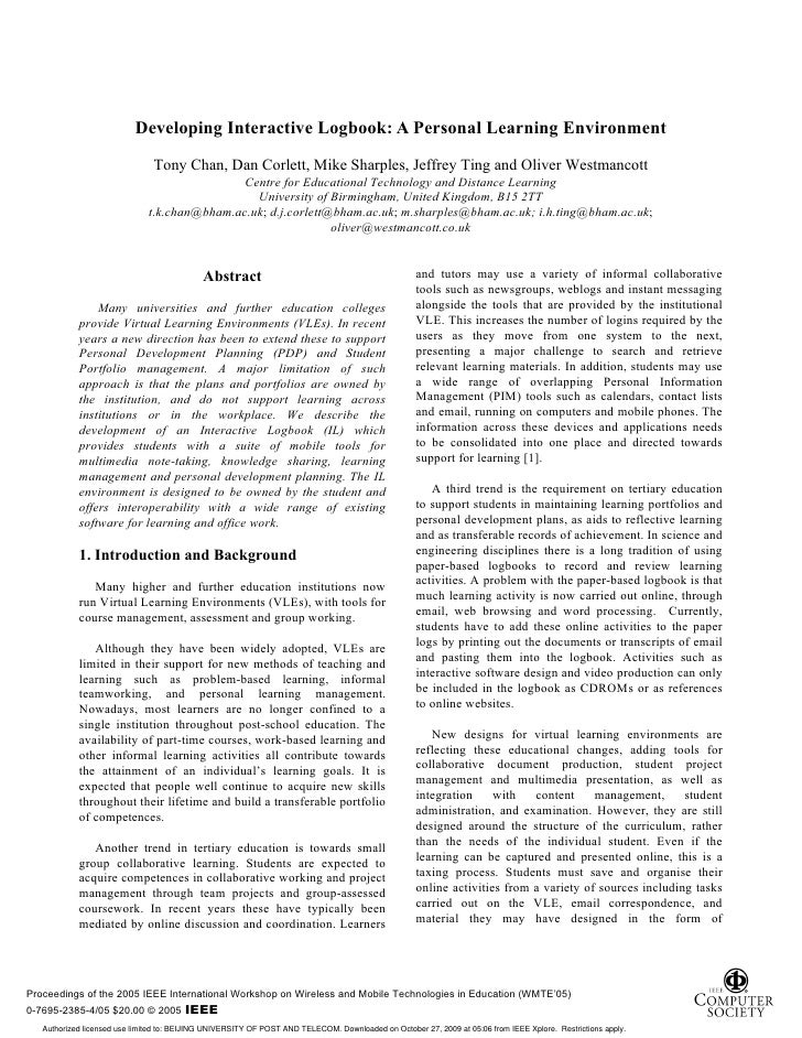 Developing Interactive Logbook: A Personal Learning Environment                                  Tony Chan, Dan Corlett, M...