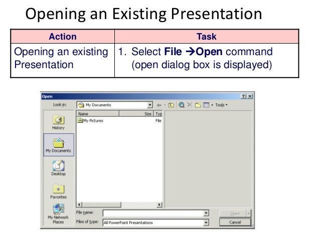Introduction to microsoft powerpoint 2003 presentation 10 opening an existing presentation toneelgroepblik Choice Image