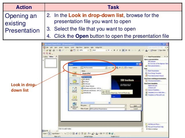 Introduction to microsoft powerpoint 2003 11 action task opening an existing presentation toneelgroepblik Choice Image
