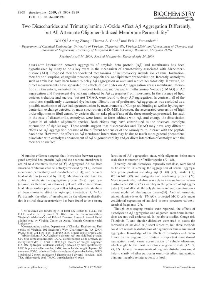 8908       Biochemistry 2009, 48, 8908–8919           DOI: 10.1021/bi9006397      Two Disaccharides and Trimethylamine N-O...