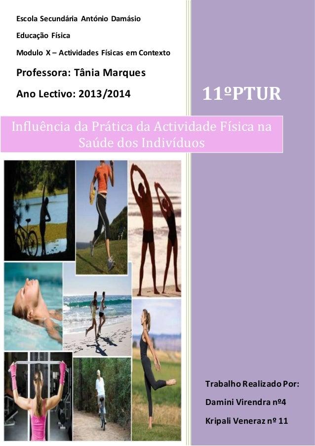 11ºPTUR  Escola Secundária António Damásio  Influência da Prática da Actividade Física na  Saúde dos Indivíduos  Educação ...