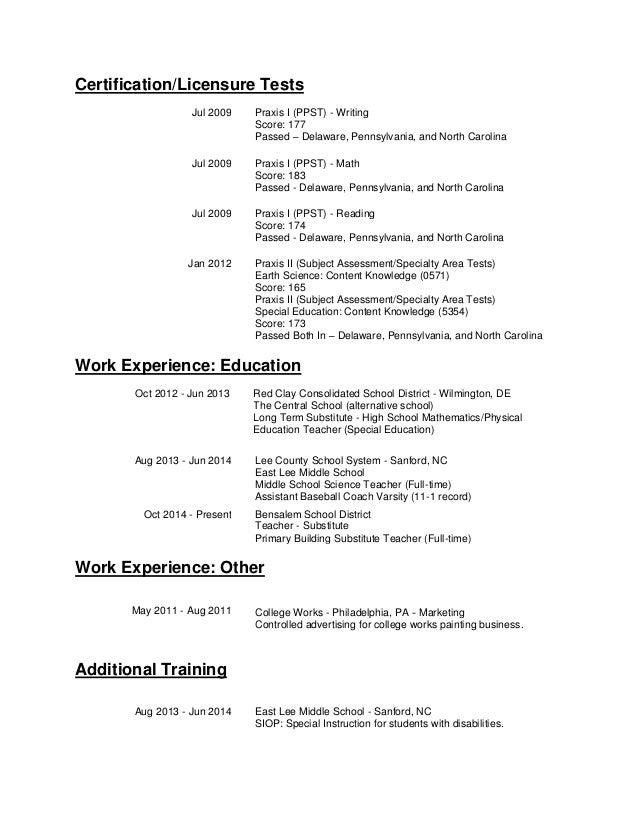 Free Professional Resume » north carolina teacher certification ...