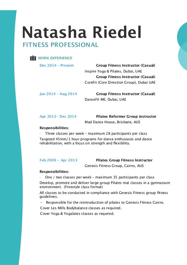 pilates instructor resume example. Resume Example. Resume CV Cover Letter