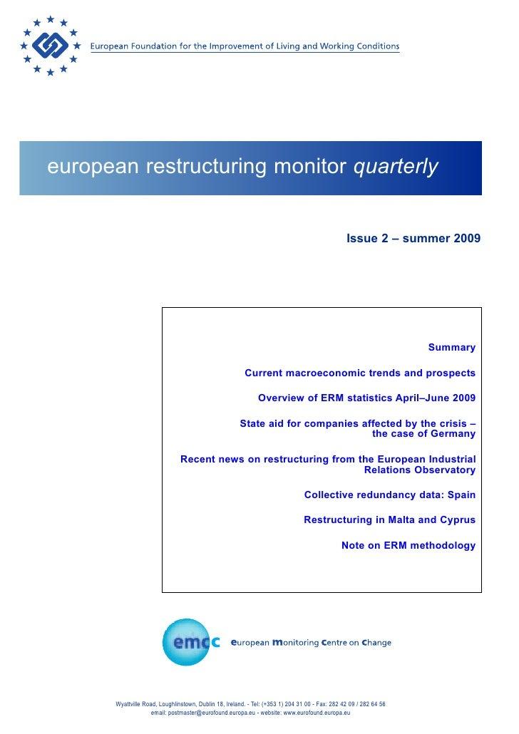 european restructuring monitor quarterly                                                                                  ...