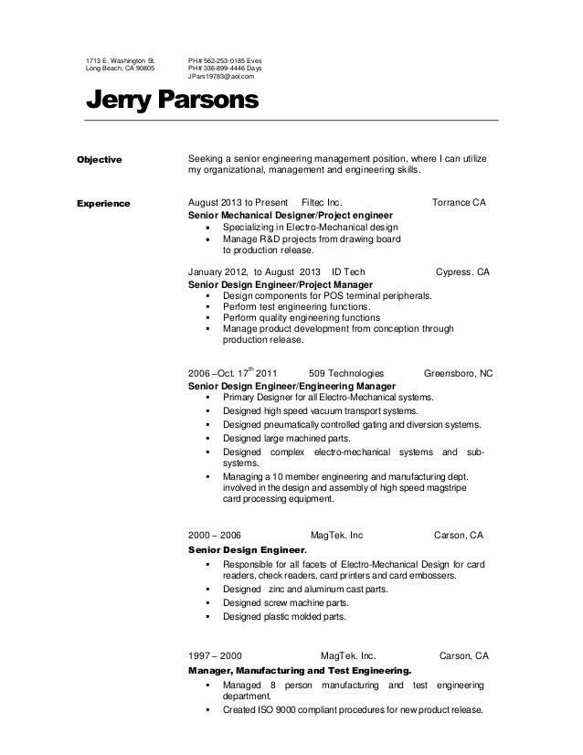 jerry parsons resume 2016 engineer manager 1713 e washington st long beach ca 90805 ph 562 253