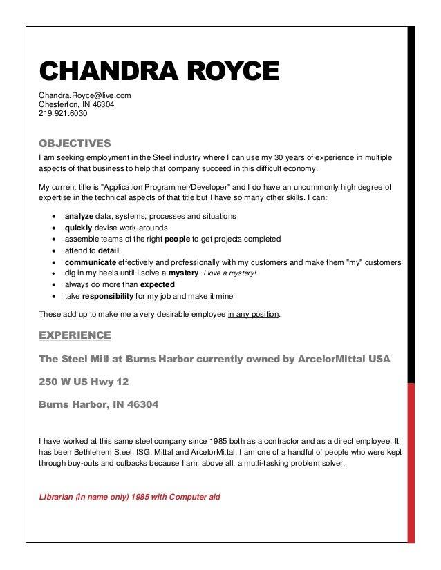 Chandra Royce resume to steel companies