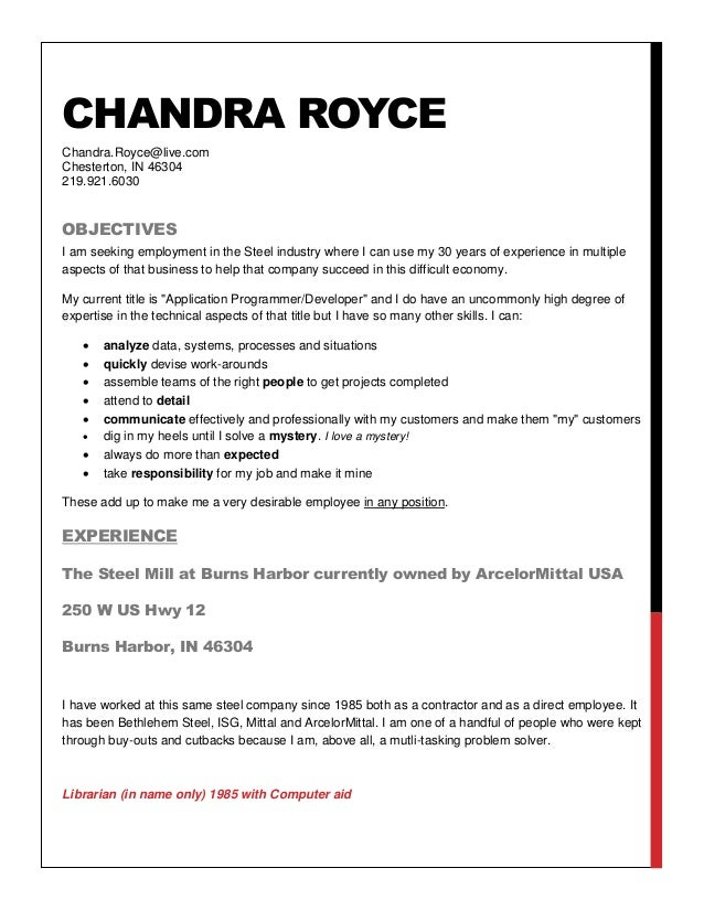 chandra royce resume to steel companies chandra royce chandraroycelivecom chesterton in 46304 2199216030