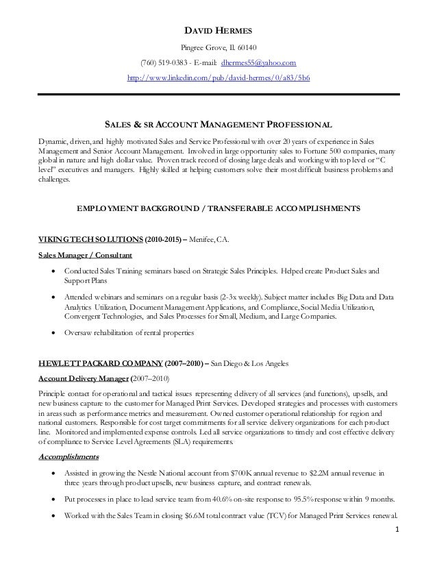 dave hermes resume sales resume 2015
