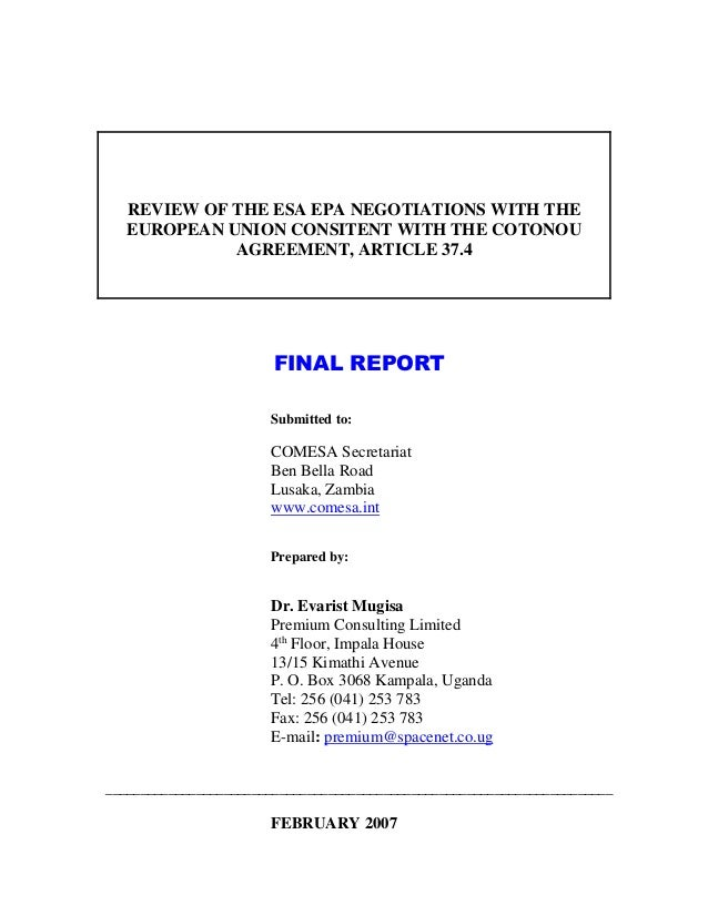 Review Of The Esa Epa Negotiations With Eu Final Report
