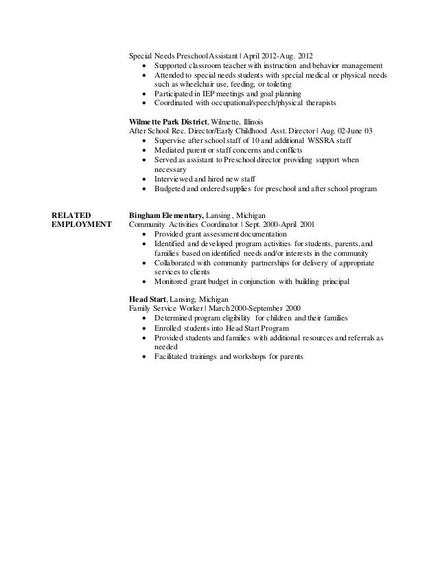 special needs educator resume