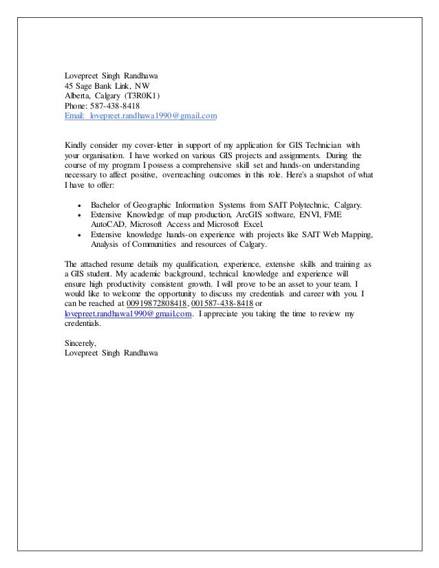 Cover Letter GIS. Lovepreet Singh Randhawa 45 Sage Bank Link, NW Alberta,  Calgary (T3R0K1) Phone