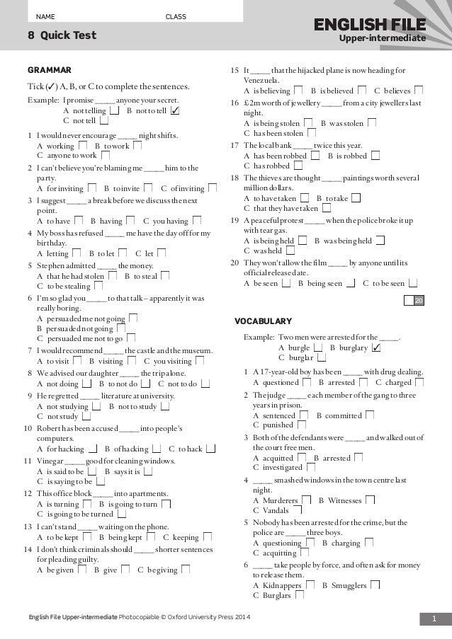 new english file upper intermediate test pdf