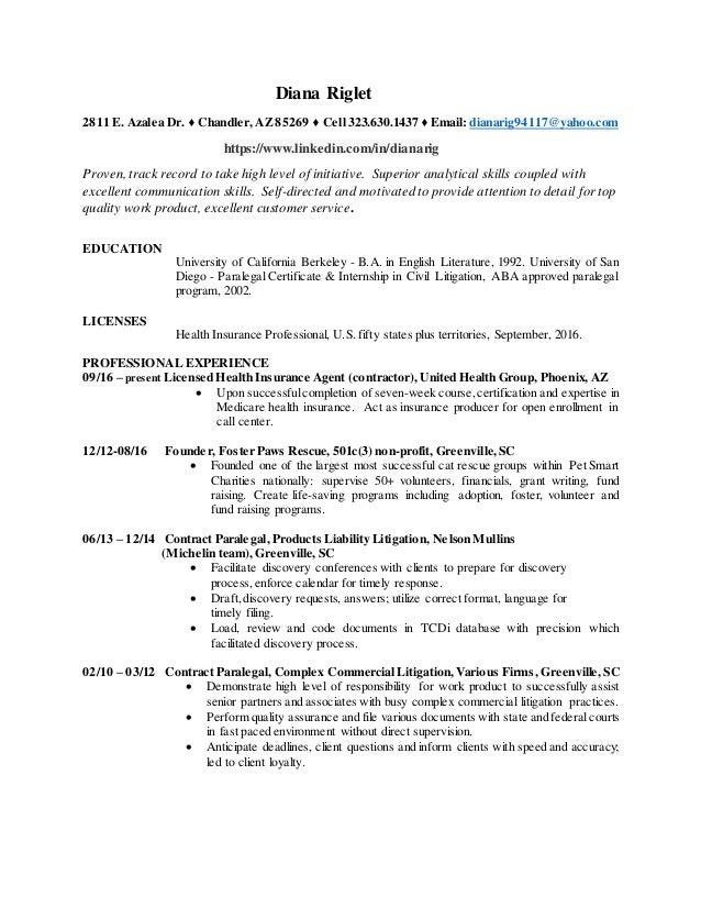 D Riglet Paralegal Sept 2016 Resume